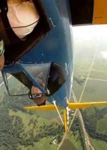 Stearman pilot Brian Rosenstein - over the top