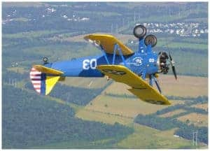 aerobatic flight in Stearman biplane
