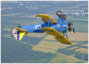 Rolling the Stearman during an aerobatic ride