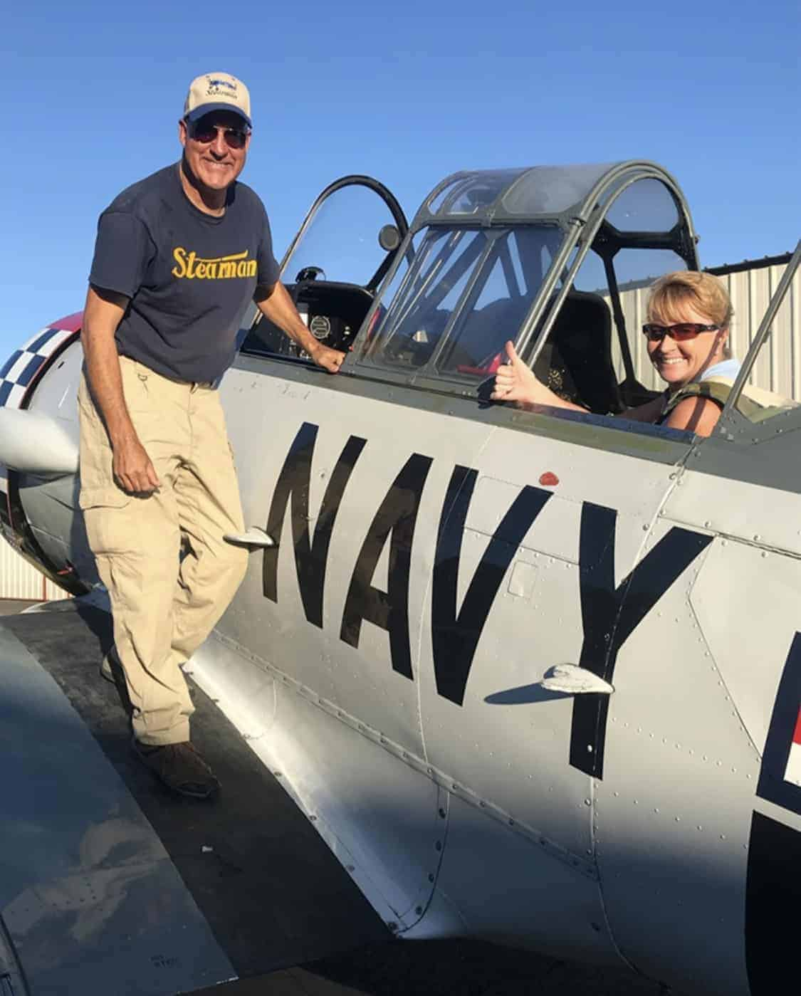 Pilot David Brown with his new T6 Texan Warbird airplane